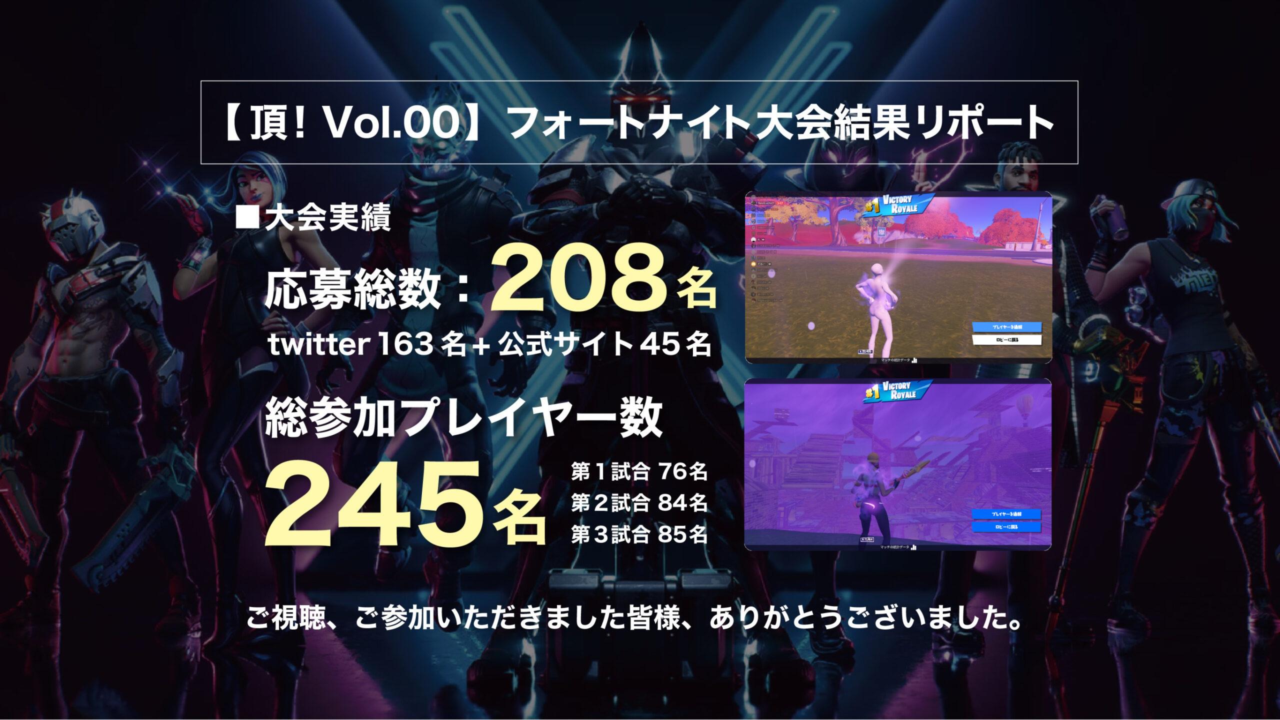 【頂!Vol.00】フォートナイト大会結果のお知らせ
