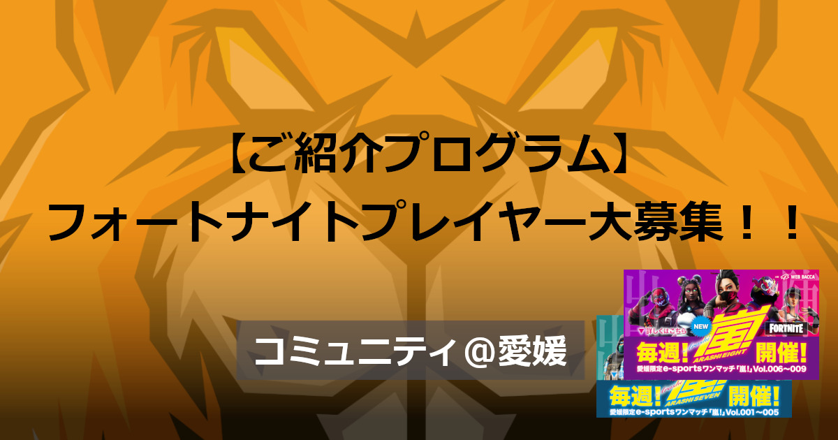 【ご紹介プログラム】愛媛県在住フォートナイトプレイヤー大募集!